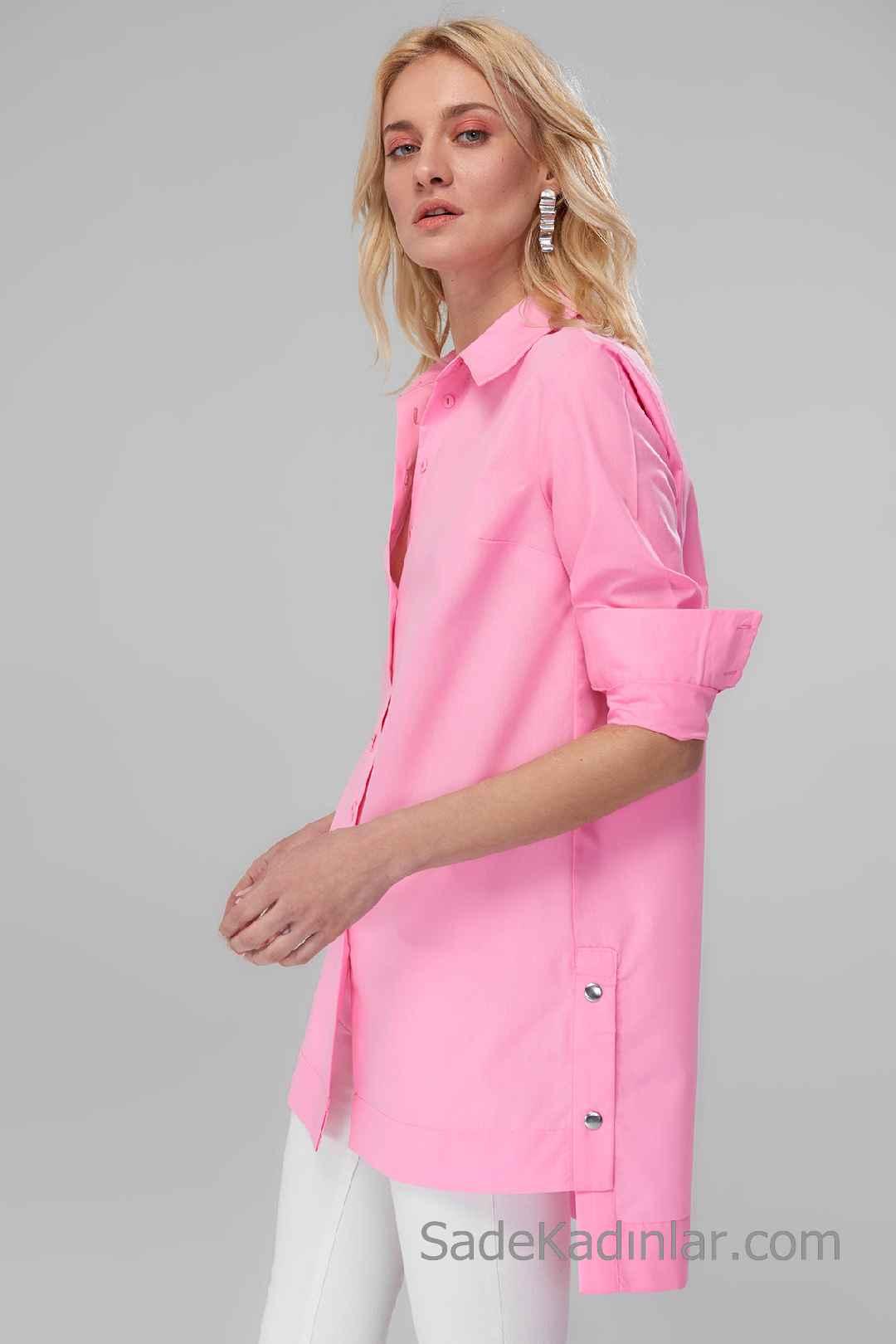 Tunik Gömlek Modelleri Pembe Katlamalı Kol Yandan Düğme Aksesuarlı