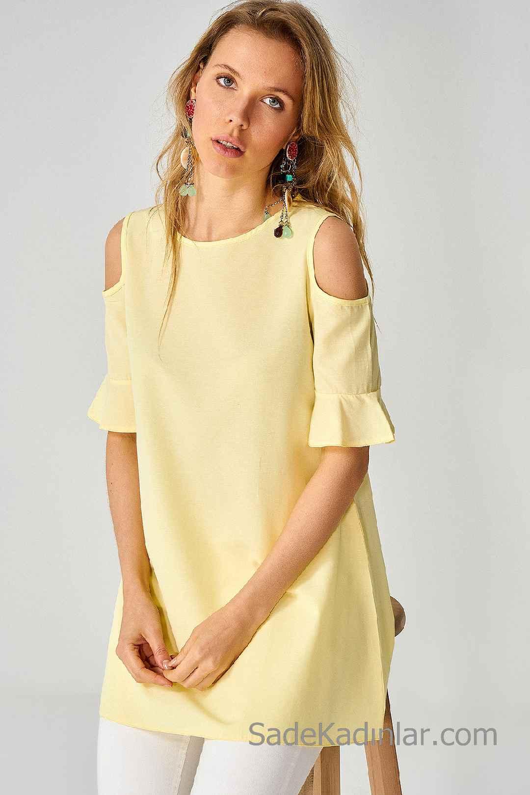 Tunik Gömlek Modelleri Sarı Omzu Açık Kısa Kollu Sade