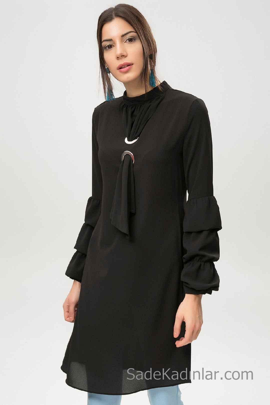 Tunik Gömlek Modelleri Siyah Uzun Kollu Kuş Gözü Detaylı kolları Fırfırlı