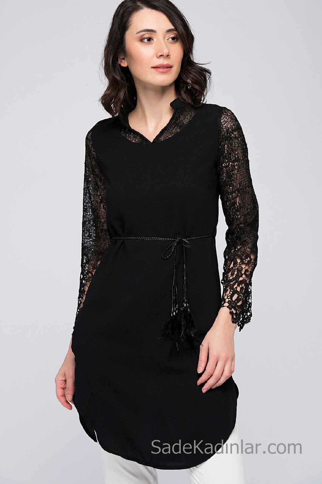 Tunik Gömlek Modelleri Siyah Uzun Kollu V Yaka Belden İp Bağcıklı Dantelli