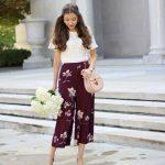 2019 Bayan Yazlık Kıyafetler ve Günlük Kombinler Mürdüm Bol Kesim Çiçek Desenli Pantolon KremKısa Kollu Dantelli Bluz