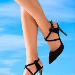İnce Topuklu Ayakkabı Modelleri Siyah Çapraz Bantlı Önü Kapalı Tokalı