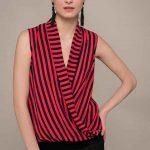 2019 Şifon Bluz Modelleri Kırmızı V Yakalı Kolsuz Çizgili Desenli