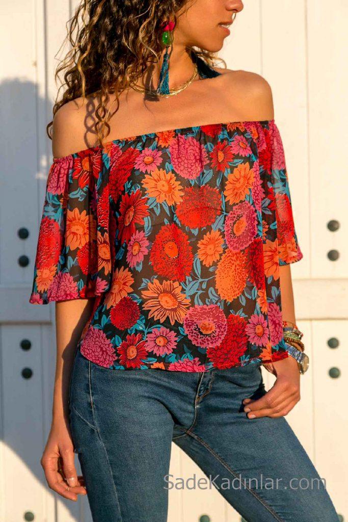Şifon Bluz Modelleri Siyah Omzu Açık Düşük Kol Çiçek Desenli