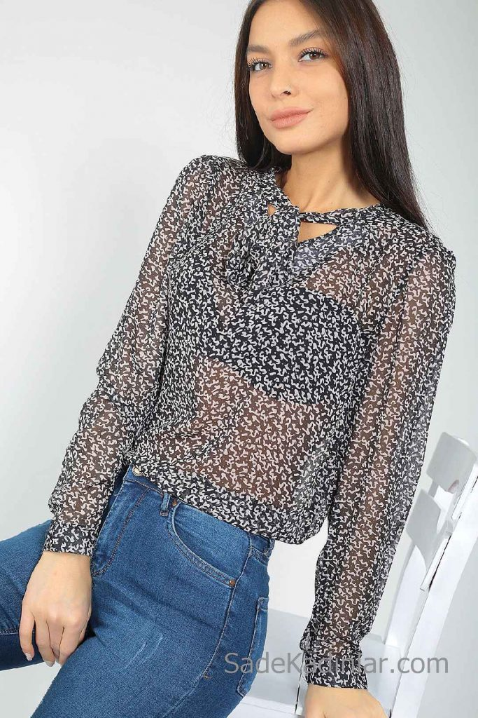 Şifon Bluz Modelleri Siyah Uzun Kol Bağlamalı Yaka Küçük Desenli