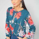 2019 Şifon Bluz Modelleri Yeşil Uzun Kollu Bağcıklı Yaka Çiçek Desenli