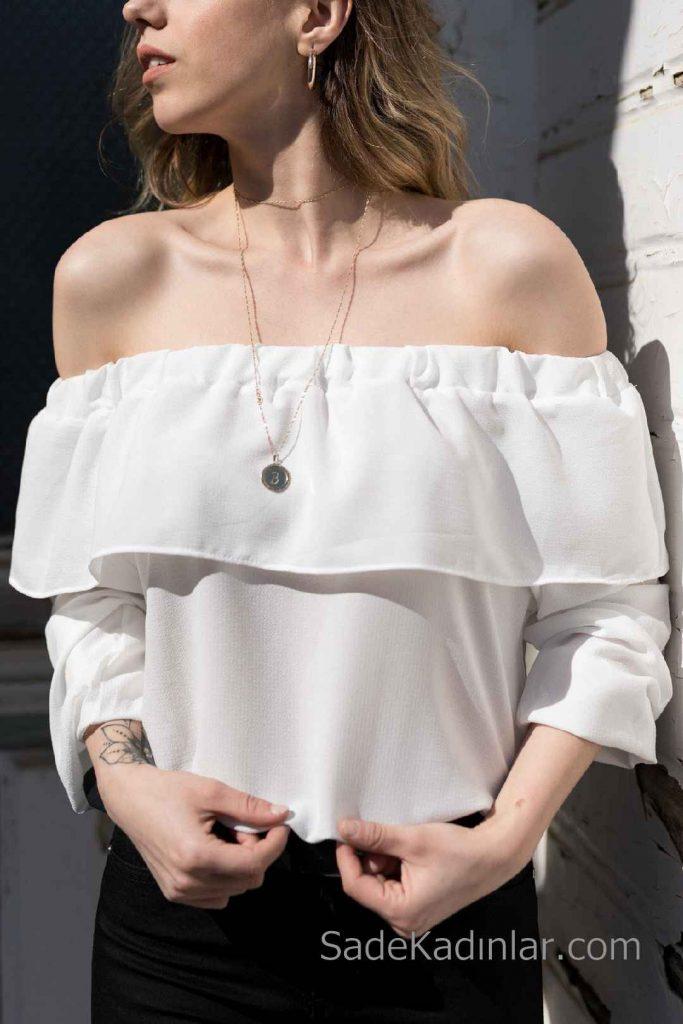 2019 Şifon Bluz Modelleri Beyaz Omzu Açık Uzun Kol Fırfırlı Yaka