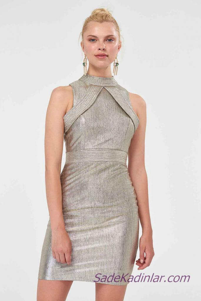 2019 Abiye Elbise Modelleri Gold Kısa Omuzlar Açık Yakalı
