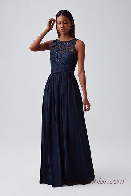 ab66ff7f8471a 2019 Abiye Elbise Modelleri Lacivert Uzun Kolsuz Transparan Yaka Kloş Etek.  «