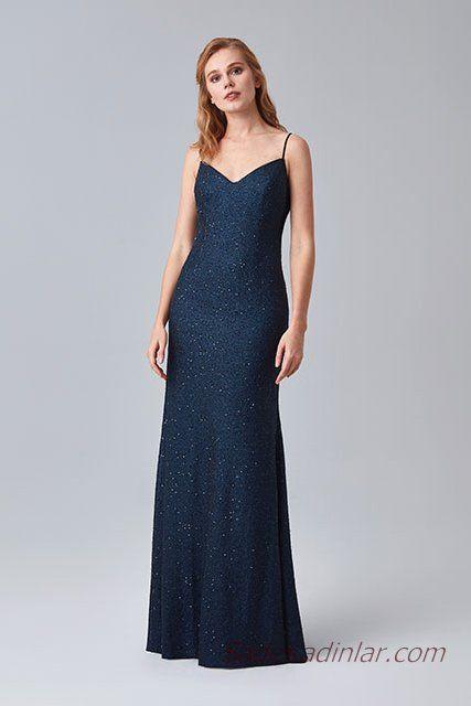98ac45127ce41 2019 Abiye Elbise Modelleri Lacivert Uzun İp Askılı V Yakalı Sade ...
