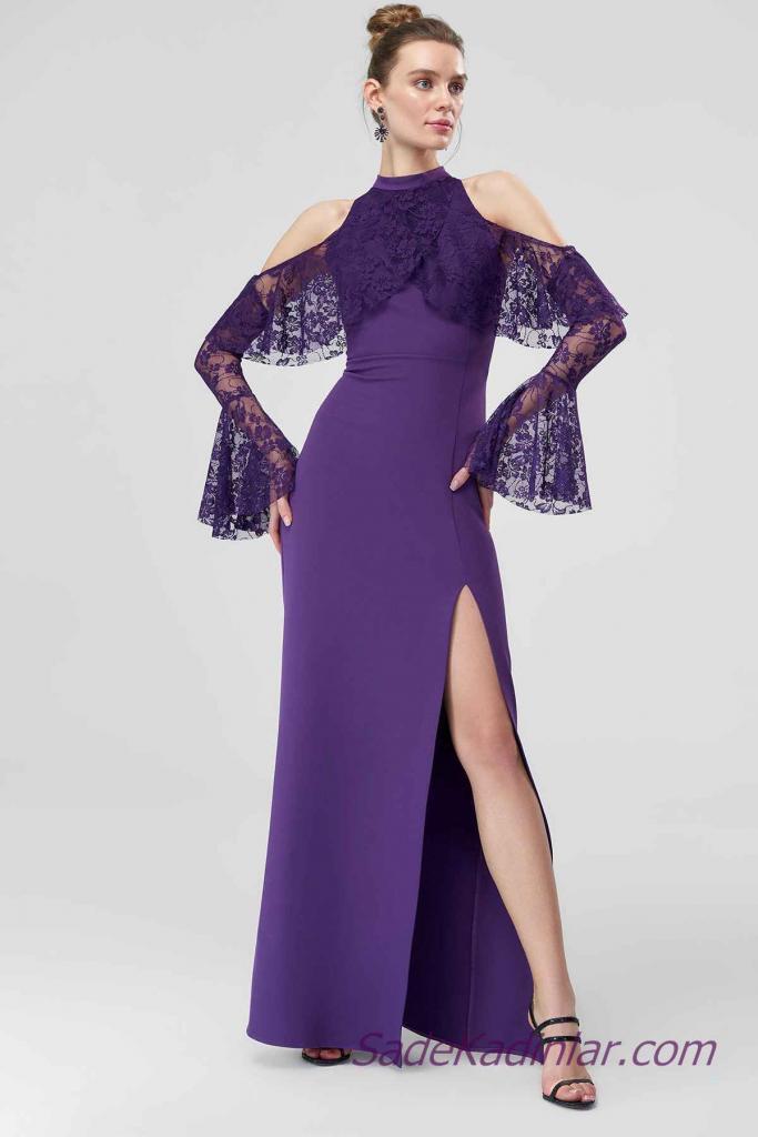 cfbf0962387 2019 Abiye Elbise Modelleri Mor Uzun Omuzlar Açık Yakalı Güpür Dantelli  Yırtmaçlı