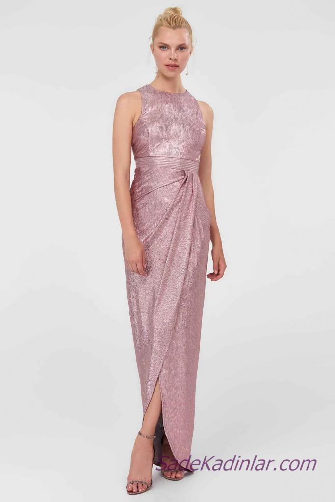 2021 Abiye Elbise Modelleri Pembe Uzun Kolsuz Büzgü Detaylı
