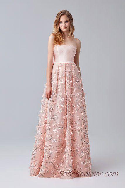 619655a09a4e1 2019 Abiye Elbise Modelleri Pudra Uzun Omzu Açık Tül Etek Çiçek İşlemeli. «