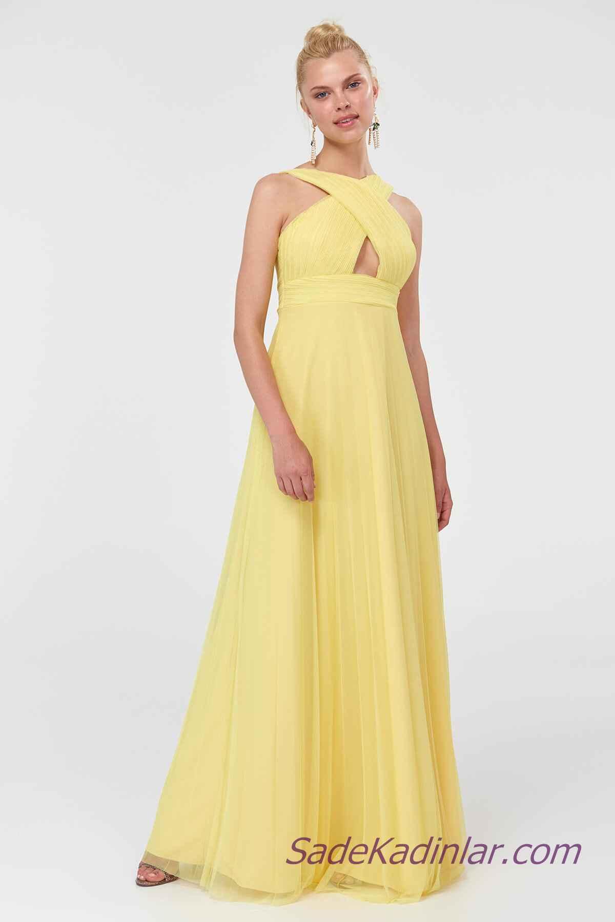 2019 Sarı Elbise Modelleri