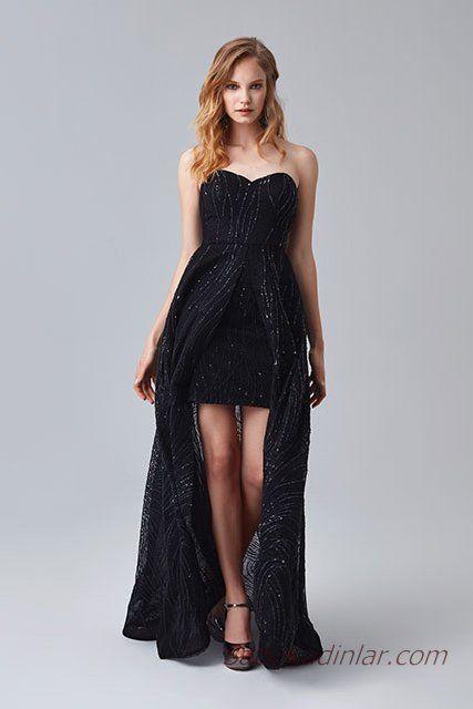 2019 Abiye Elbise Modelleri Siyah Kısa Straplez Kalp Yaka Boncuk İşlemeli
