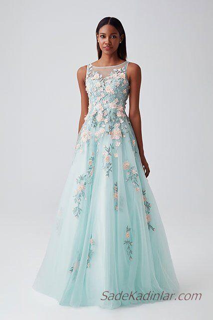 de1e3c561592f 2019 Abiye Elbise Modelleri Su Yeşili Uzun Kolsuz Transparan Yaka Nakış  İşlemeli. «