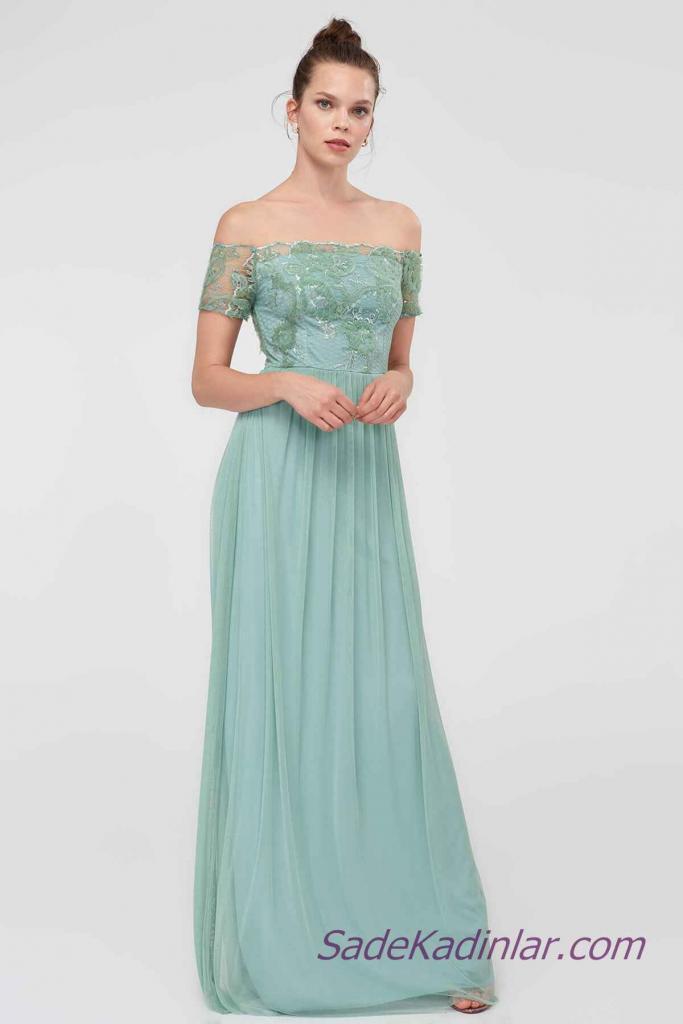 2021 Abiye Elbise Modelleri Yeşil Uzun Omuzlar Açık Düşük Kol Dantelli