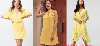 Canlı Rengi İle Şık 2019 Yazlık Sarı Elbise Modelleri