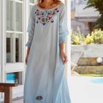 Bohem Elbise Modelleri Bebek Mavisi Uzun Geniş Yaka Uzun Kol İşlemeli