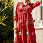 Bohem Elbise Modelleri Kırmızı Dizaltı Yetim Kol V Yakalı Nakış İşlemeli
