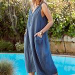 Bohem Elbise Modelleri Mavi Midi Kolsuz V Yakalı Cepli