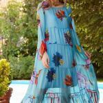 Bohem Elbise Modelleri Mavi Uzun Geniş Yaka Uzun Kol desenli