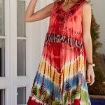 Bohem Elbise Modelleri Mercan Dizboyu Kolsuz Geniş Yaka Nakışlı