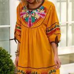 Bohem Elbise Modelleri Sarı Kısa Geniş Yaka Yetim Kol Nakış İşlemeli