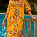 Bohem Elbise Modelleri Sarı Midi Geniş Yaka Kısa Kol Püskül Detaylı