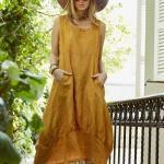 Bohem Elbise Modelleri Sarı Midi Kolsuz Kare Yaka Cep Detaylı