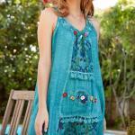 Bohem Elbise Modelleri Turkuaz Kısa Kolsuz Geniş Yakalı Nakış İşlemeli