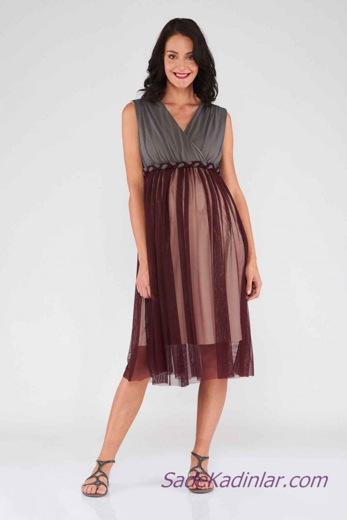 Hamile Abiye Elbise Modelleri Bordo Gri İki Renkli V Yakalı Kolsuz Tül Etekli