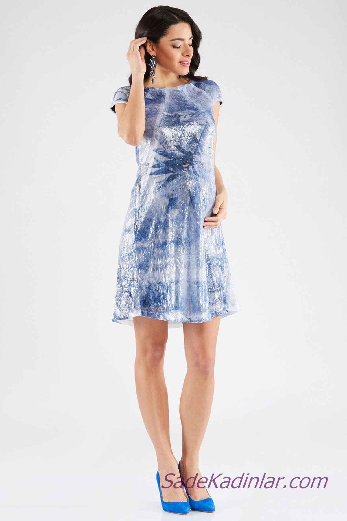 b187547631b06 Hamile Abiye Elbise Modelleri Mavi Kısa Japone Kol Kayık Yaka Parlak Kumaş.  «