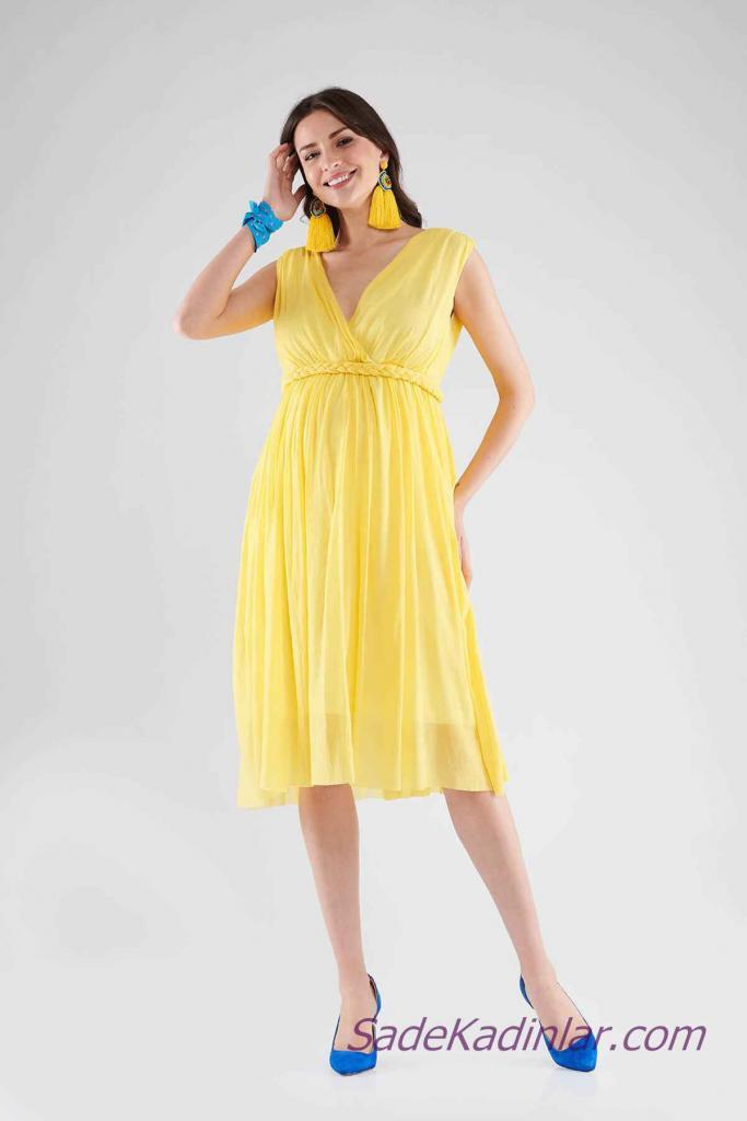 Hamile Abiye Elbise Modelleri Sarı Midi Kolsuz V Yakalı