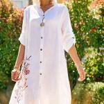2020 Günlük Keten Elbise Modelleri Beyaz Dizboyu Yakalı Yetim Kol Düğmeli Nakış İşlemeli