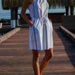 Keten Elbise Modelleri Mavi Kısa Halter YAka Bağcıklı Çizgi Desenli