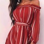 Yazlık Şık bayan kıyafet Kombinleri Kırmızı Kısa Omzu Açık Düşük Uzun Kol Çizgili Desenli Elbise
