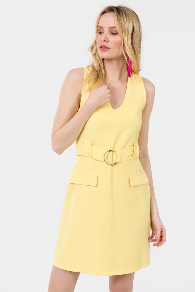 2019 Yazlık Sarı Elbise Modelleri Kısa Kolsuz V Yakalı Kemerli Ön Cepli