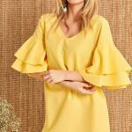Sarı Elbise Modelleri Kısa V Yakalı Kısa Kol Kolları Volanlı