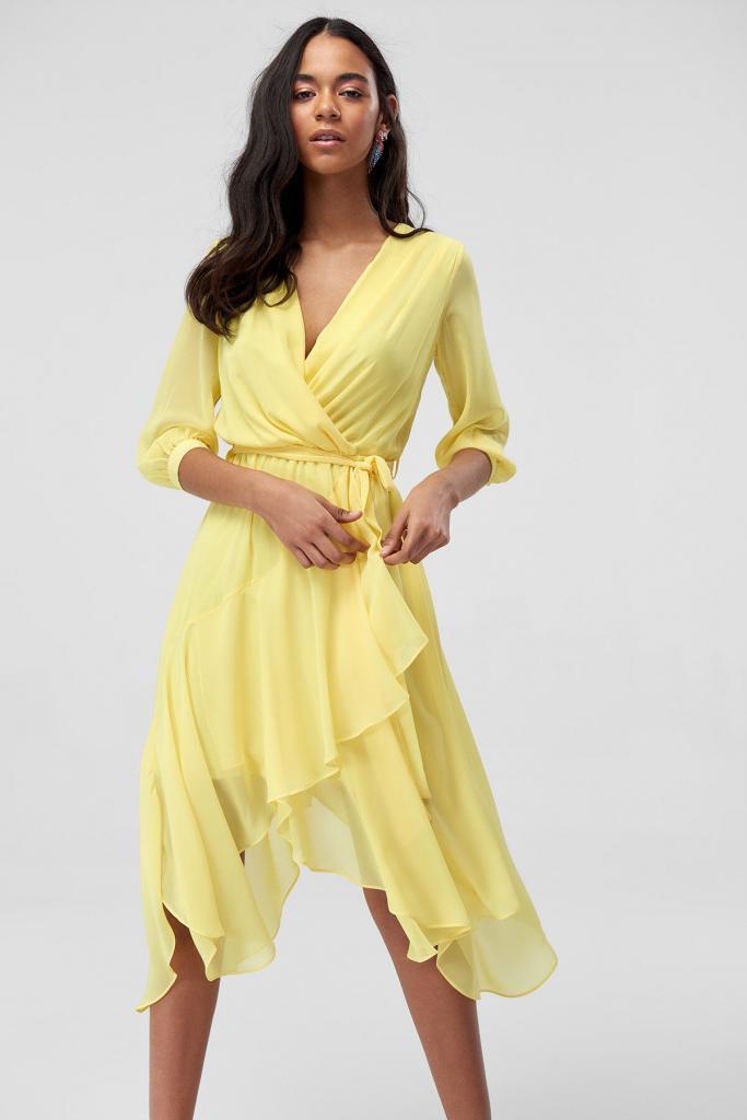 2019 Sarı Elbise Modelleri Midi V YAkalı Uzun Kol Bağlamalı