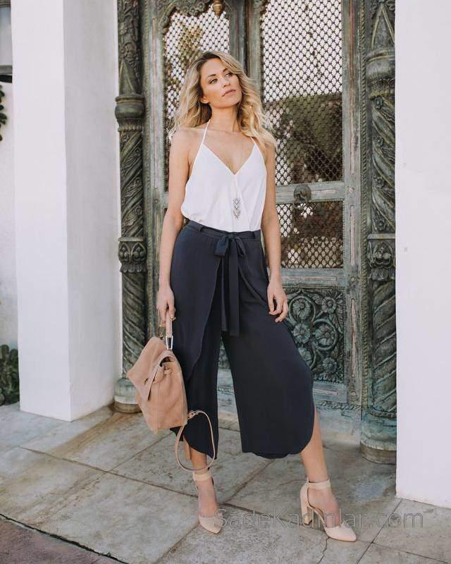 2020 Yazlık Şık Kombinler Siyah Bol Kesim Bağcıklı Pantolon Beyaz İp Askılı V Yakalı Bluz