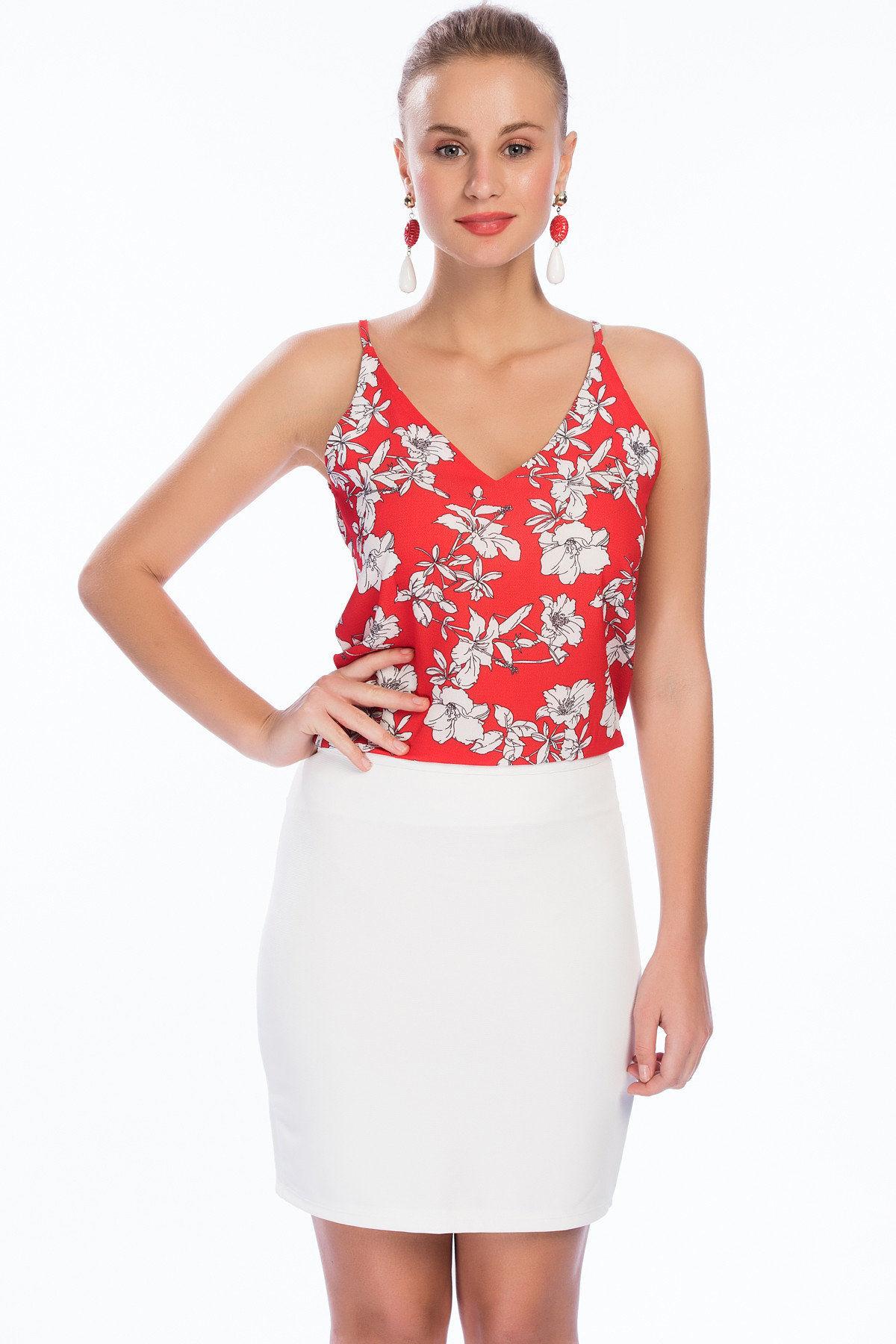 2019 Bayan Kombinleri Beyaz Kısa Kalem Etek Kırmızı İp Askılı V YAkalı Çiçek Desenli Bluz