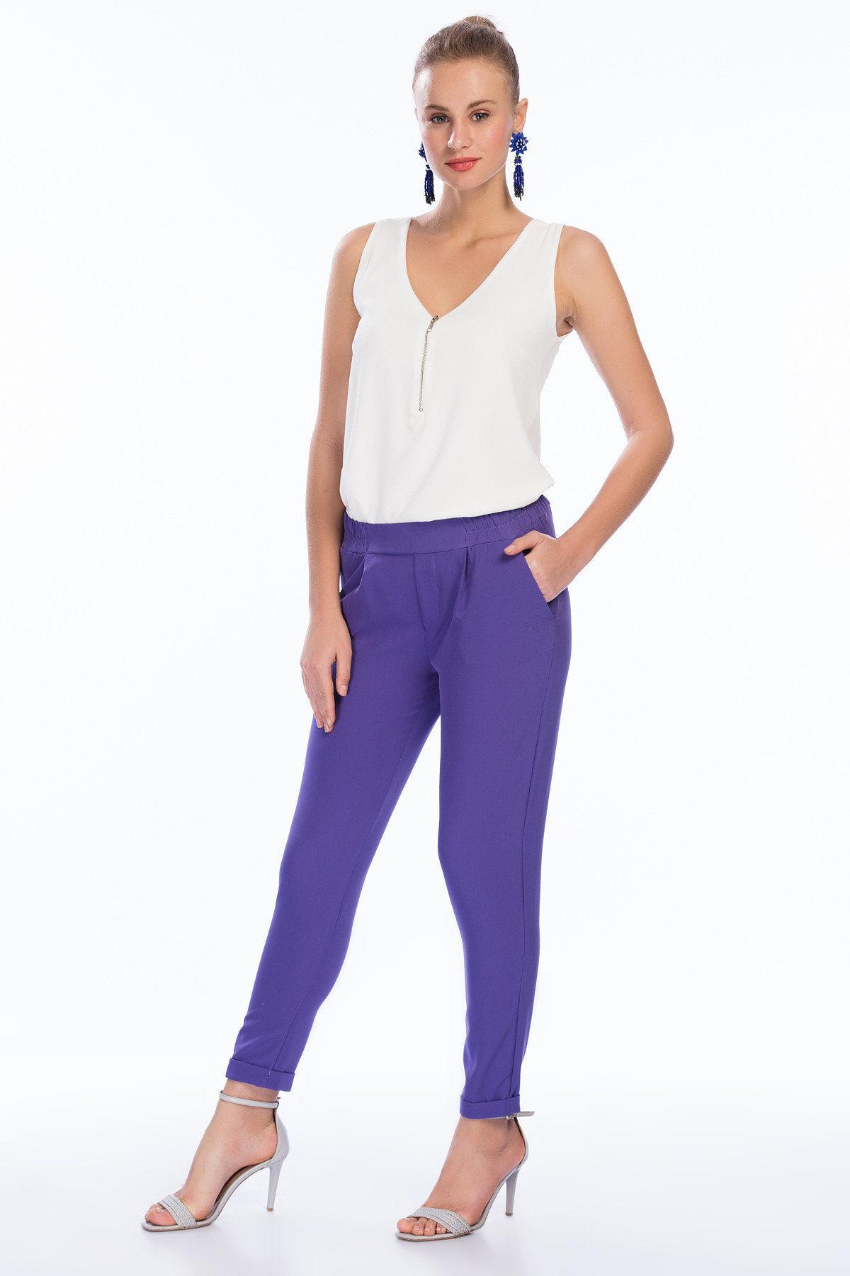 2019 Bayan Kombinleri Mor Duble Paça Cepli Pantolon Beyaz Fermuar Detaylı V Yakalı Kolsuz Bluz