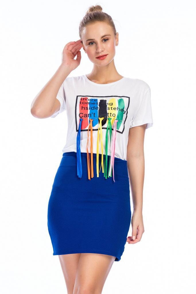 2019 Bayan Kombinleri Saks Mavi Kısa Kalem Etek Beyaz Kısa Kol Önü Püsküllü Tişört