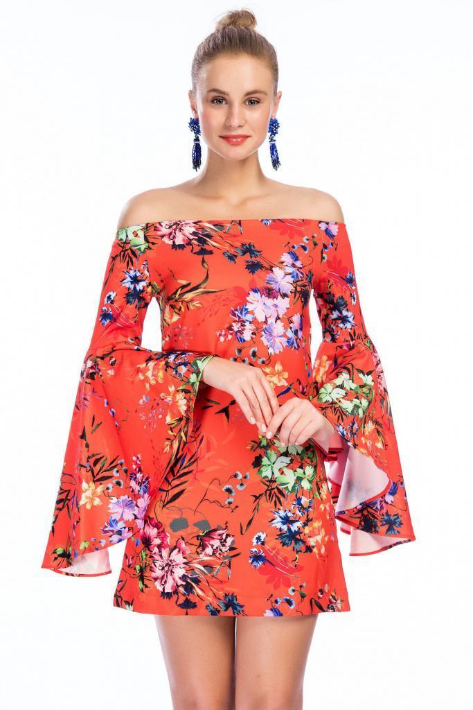 2019 Bayan Kombinleri Turuncu Kısa Omzu Açık Düşük Volanlı Kol Çiçek Desenli Elbise