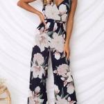 2019 Bayan Tulum Modelleri Lacivert Askılı V Yakalı Desenli