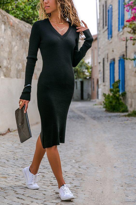 2019 Triko Elbise Modelleri Siyah Midi V Yakalı Yandan Yırtmaçlı