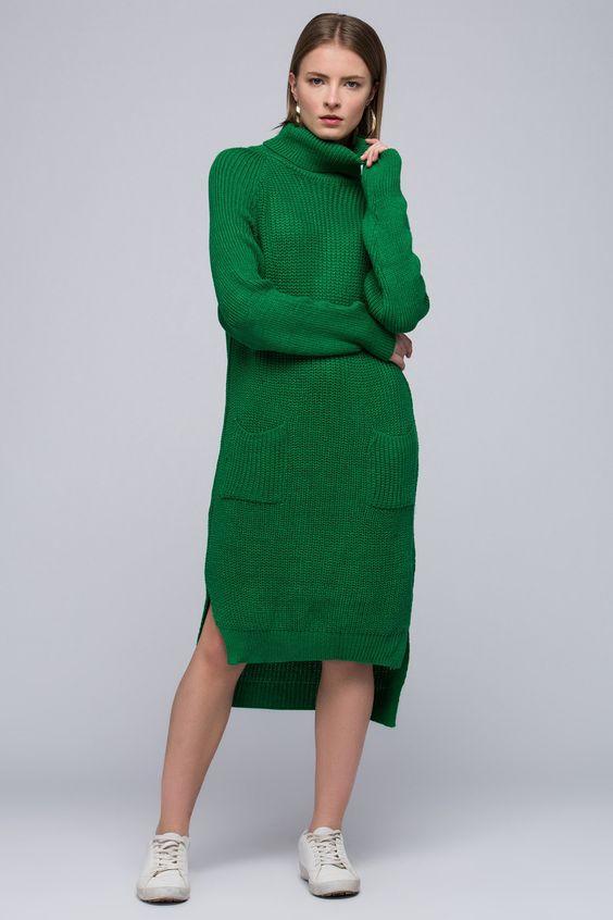 2019 Triko Elbise Modelleri Yeşil Ön Kısa Arkası Uzun Boğazlı Cep Detaylı