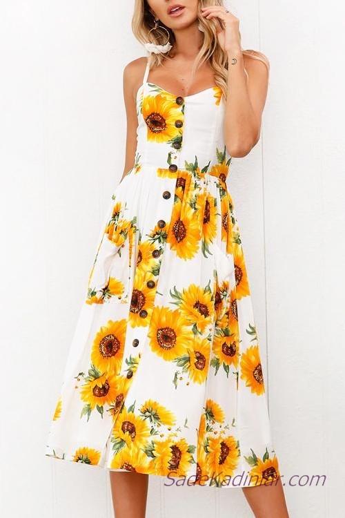 2021 Önden Düğmeli Elbise Modelleri Beyaz Midi Askılı Sarı Çiçek Desenli