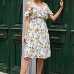 2019 Şık Kombinler Ekru Dizboyu İp Askılı V Yaka Fırfır Detaylı Çiçek Desenli Elbise